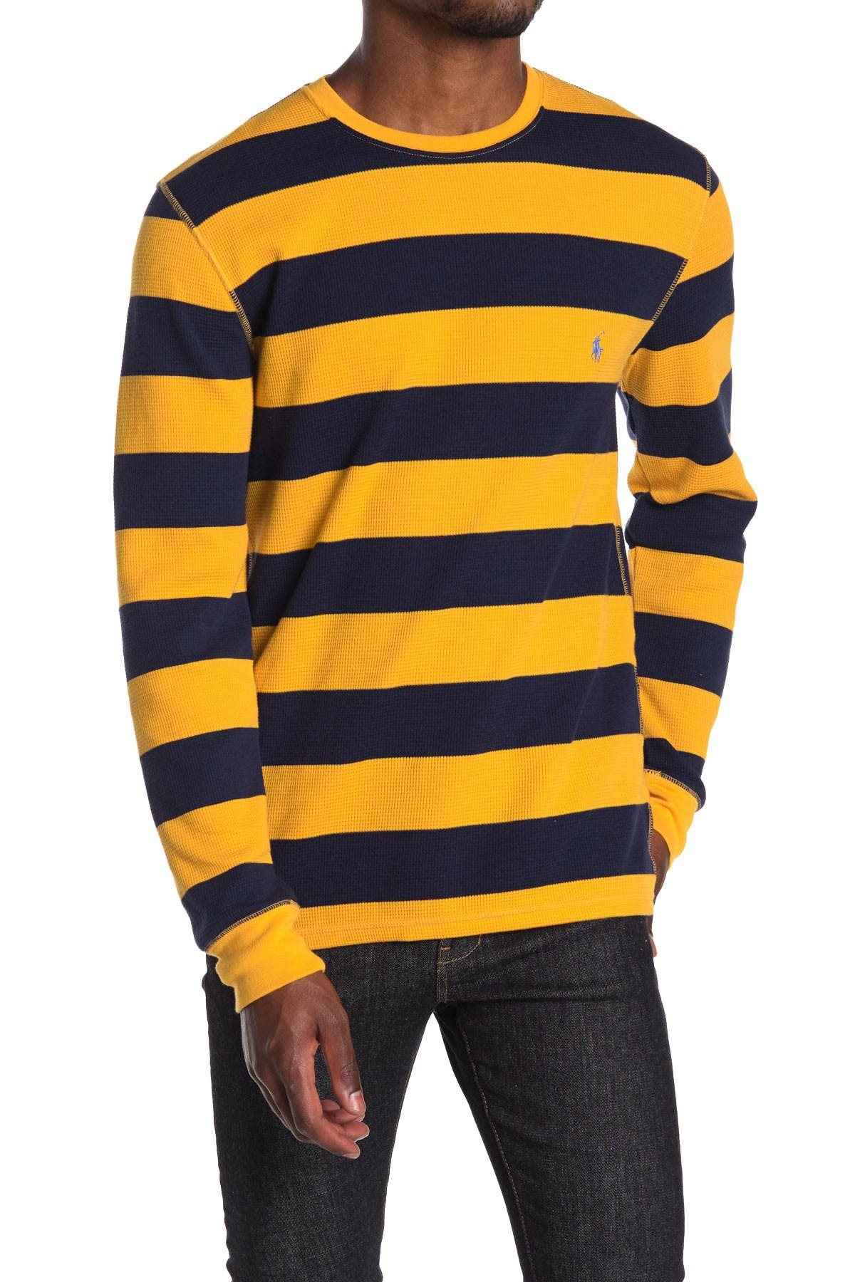 Image of Polo Waffle Rugby Stripe Sweater