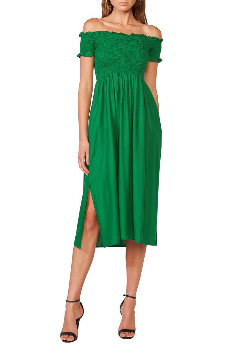 BARDOT Cindy Off the Shoulder Dress, Main, color, FERN