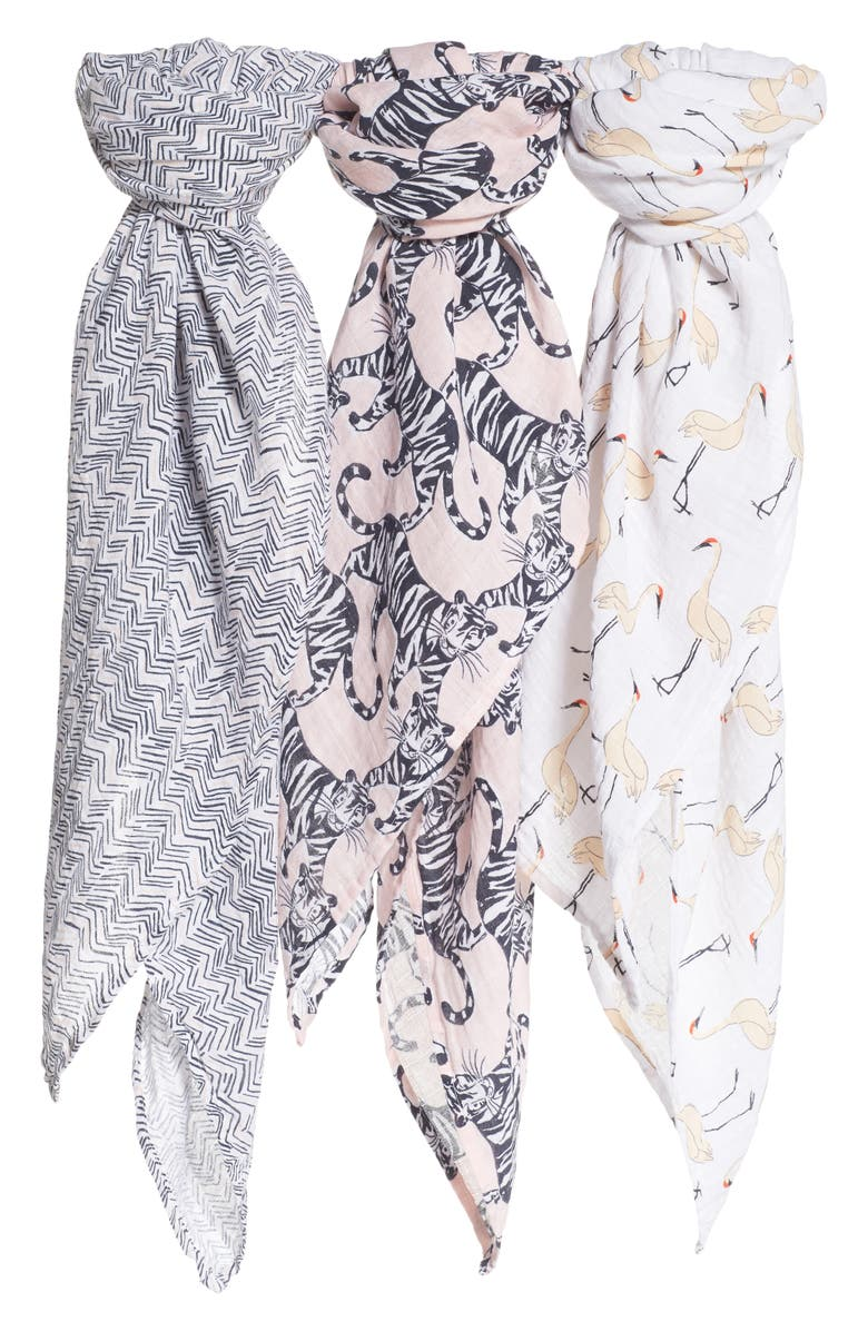 ADEN + ANAIS White Label 3-Pack Swaddling Cloths, Main, color, PACIFIC PARADISE