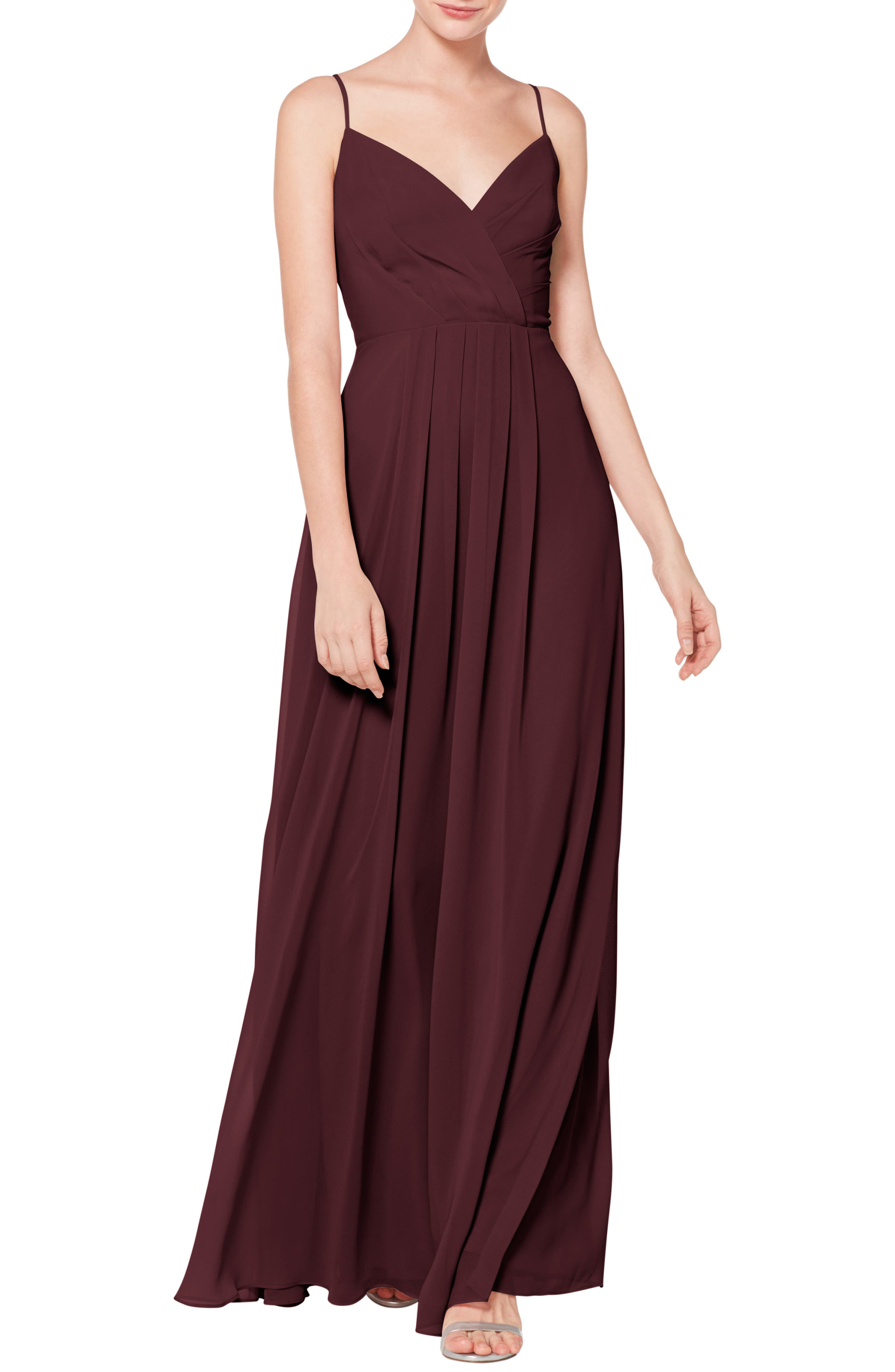 #levkoff Surplice Neck Chiffon Evening Dress, Burgundy