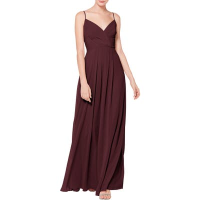 #levkoff Surplice Neck Chiffon Evening Dress, Burgundy