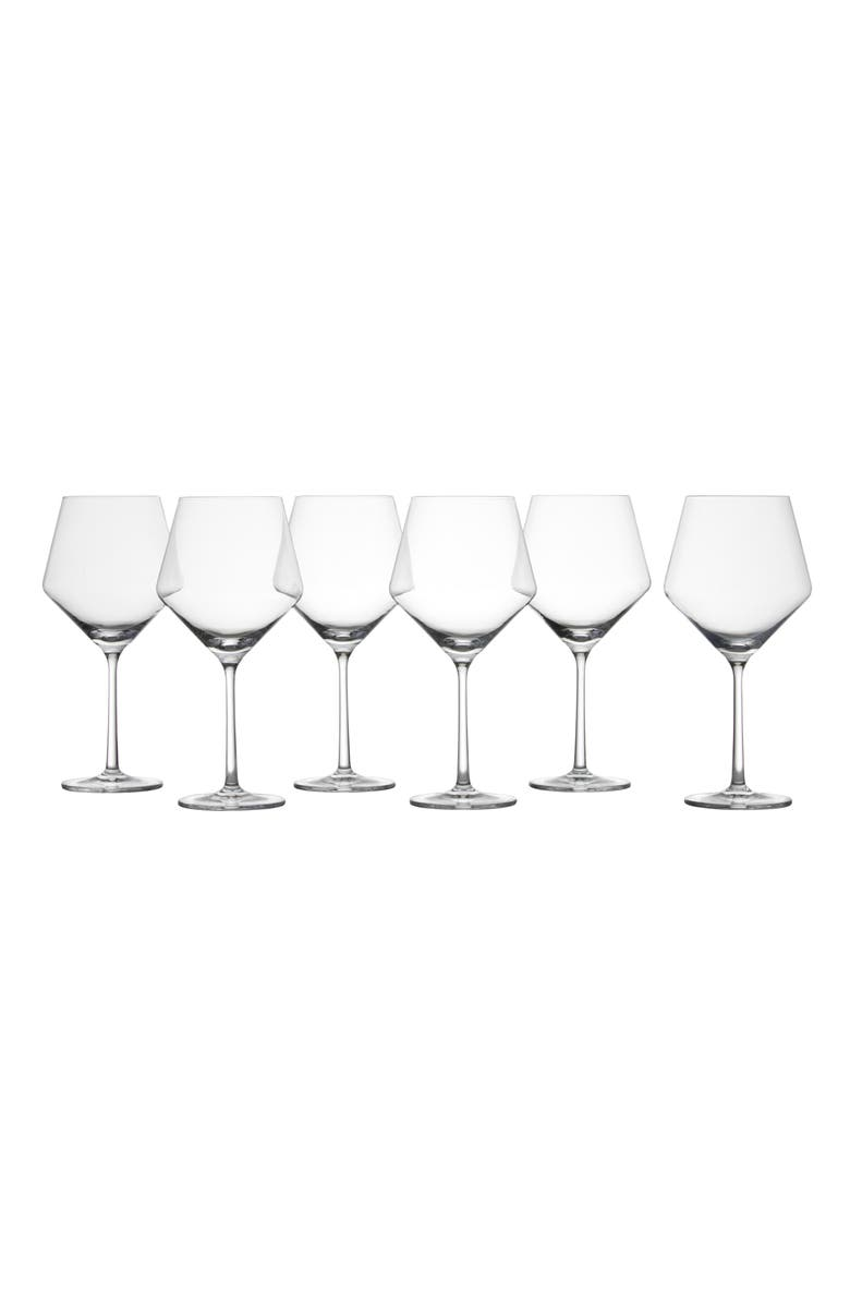 SCHOTT ZWIESEL Pure Set of 6 Burgundy Wine Glasses, Main, color, CLEAR