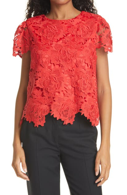 Milly Tops FLORAL LACE SHORT SLEEVE TOP