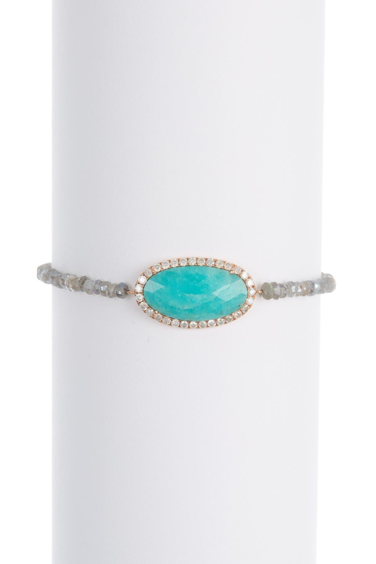 Image of Meira T 14K Rose Gold Blue Amazonite & Pave Diamond Halo Beaded Labradorite Bracelet