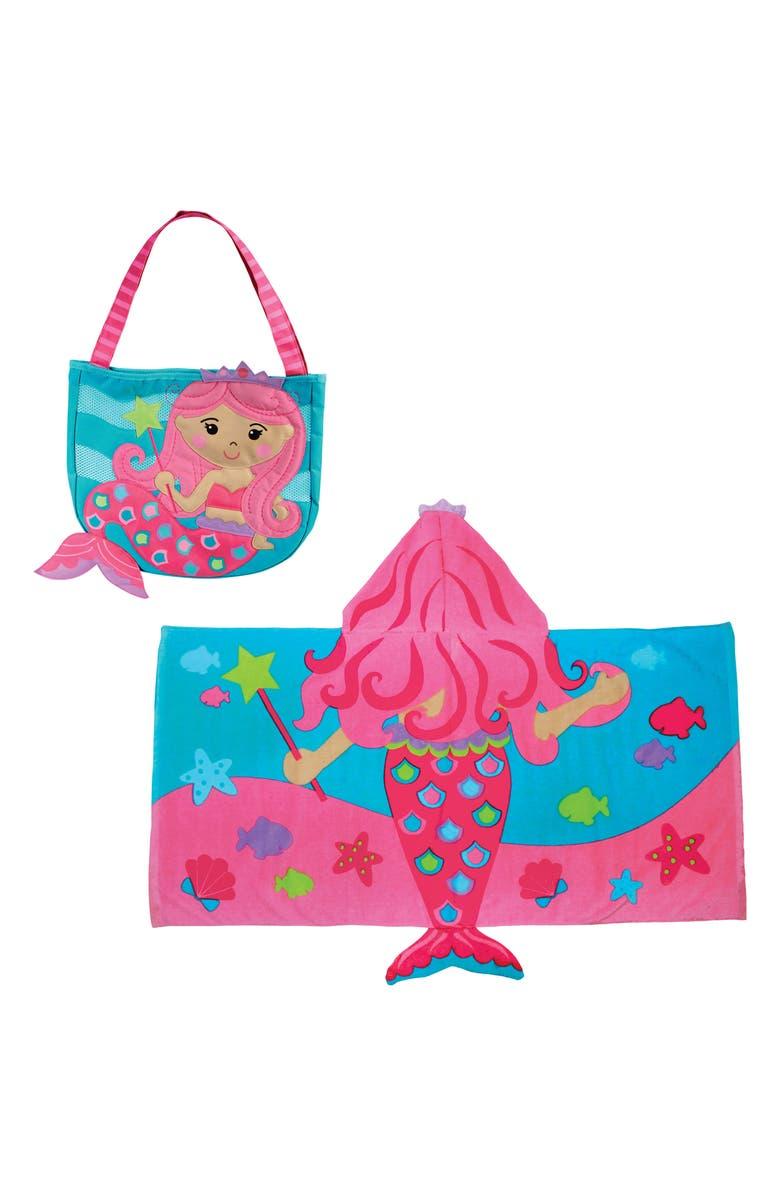 STEPHEN JOSEPH Beach Tote, Hooded Towel & Toys, Main, color, PINK MERMAID