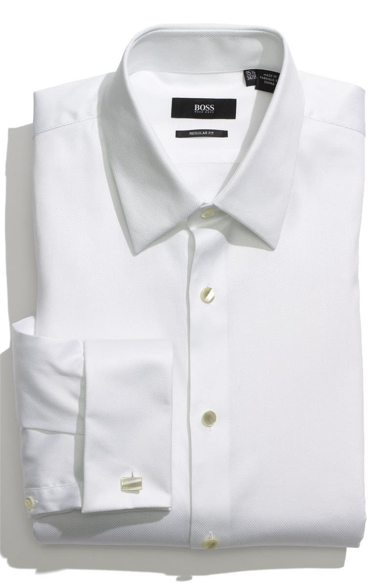 BOSS 'Emmery' US Regular Fit French Cuff Tuxedo Shirt, Main, color, 120