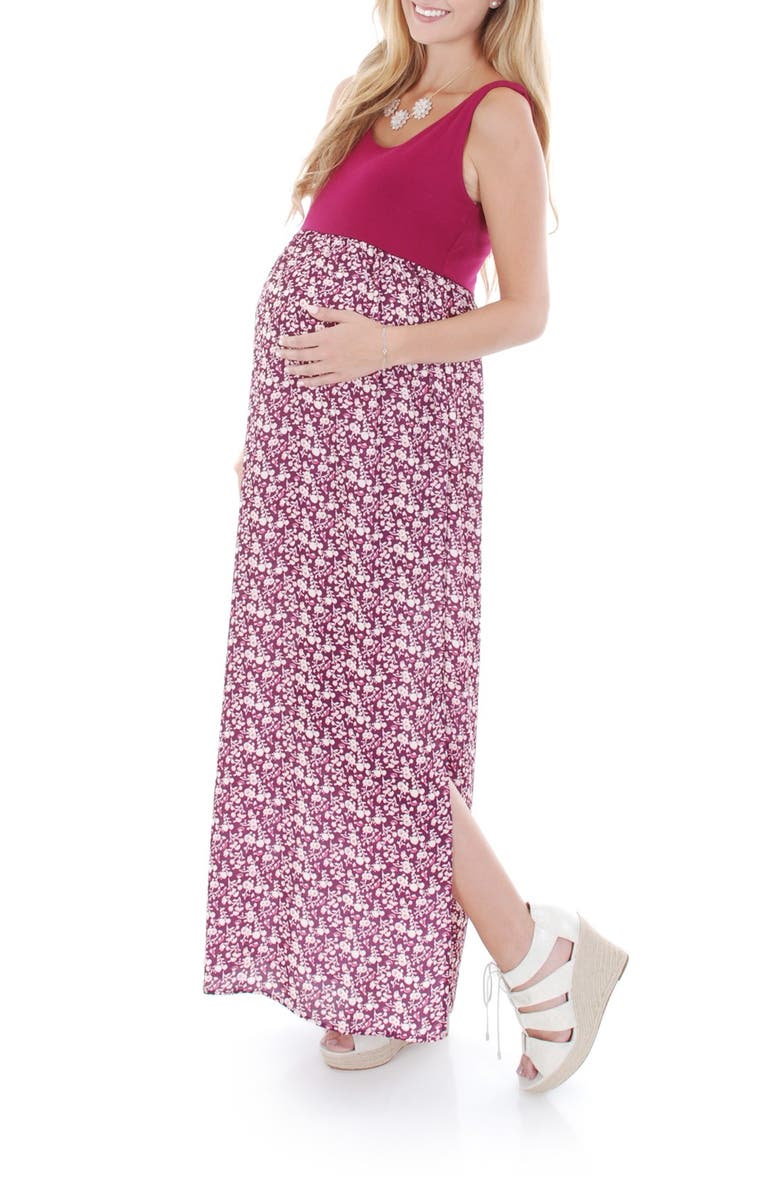 EVERLY GREY 'Maisie' Maternity Maxi Dress, Main, color, POPPY