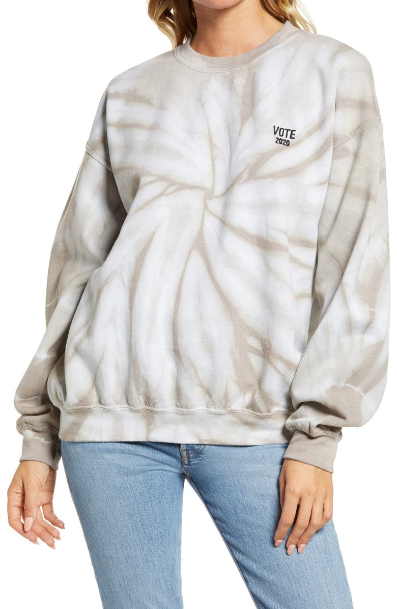 TREASURE & BOND VOTE Collection Tie Dye Sweatshirt, Main, color, GREY TIE DYE