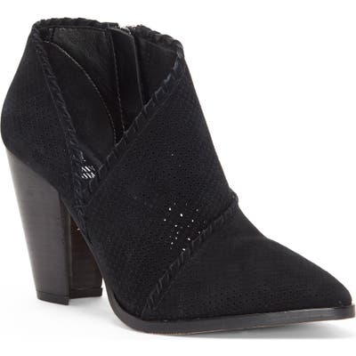 Vince Camuto Lamorna Perforated Pointy Toe Bootie- Black