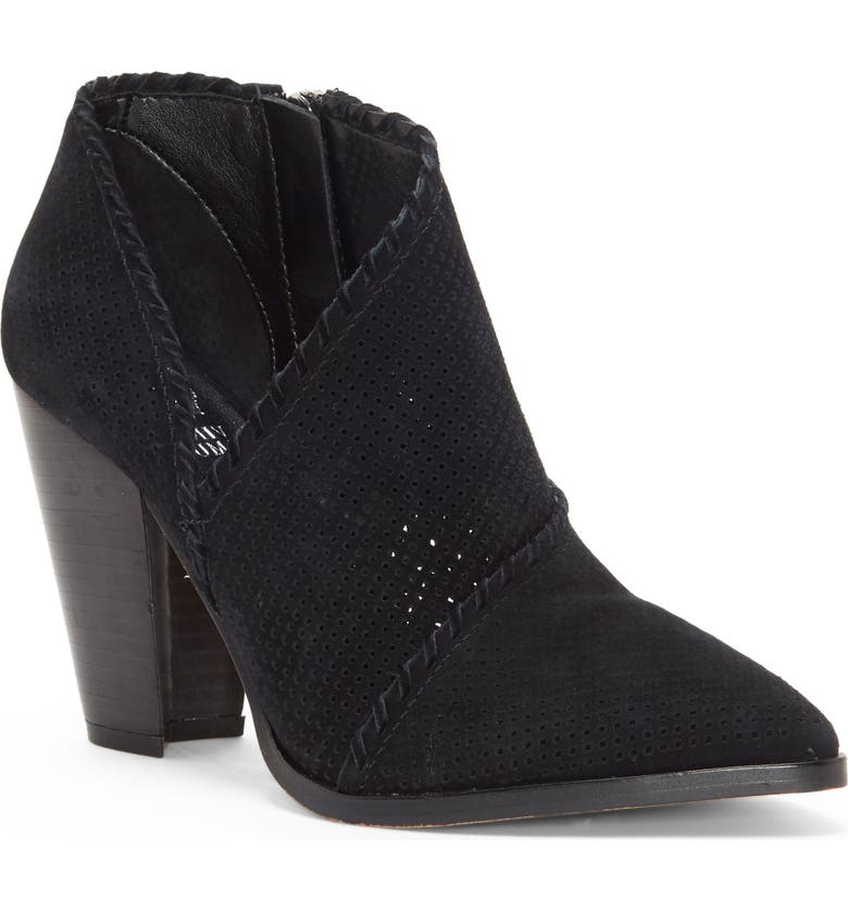 VINCE CAMUTO Lamorna Perforated Pointy Toe Bootie, Main, color, BLACK SUEDE