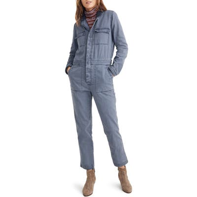 Madewell Faux Shearling Trim Coverall Jumpsuit, Blue