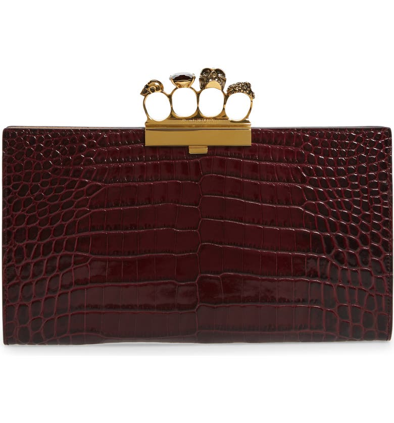 ALEXANDER MCQUEEN Croc Embossed Leather Knuckle Clutch, Main, color, VELVET RED