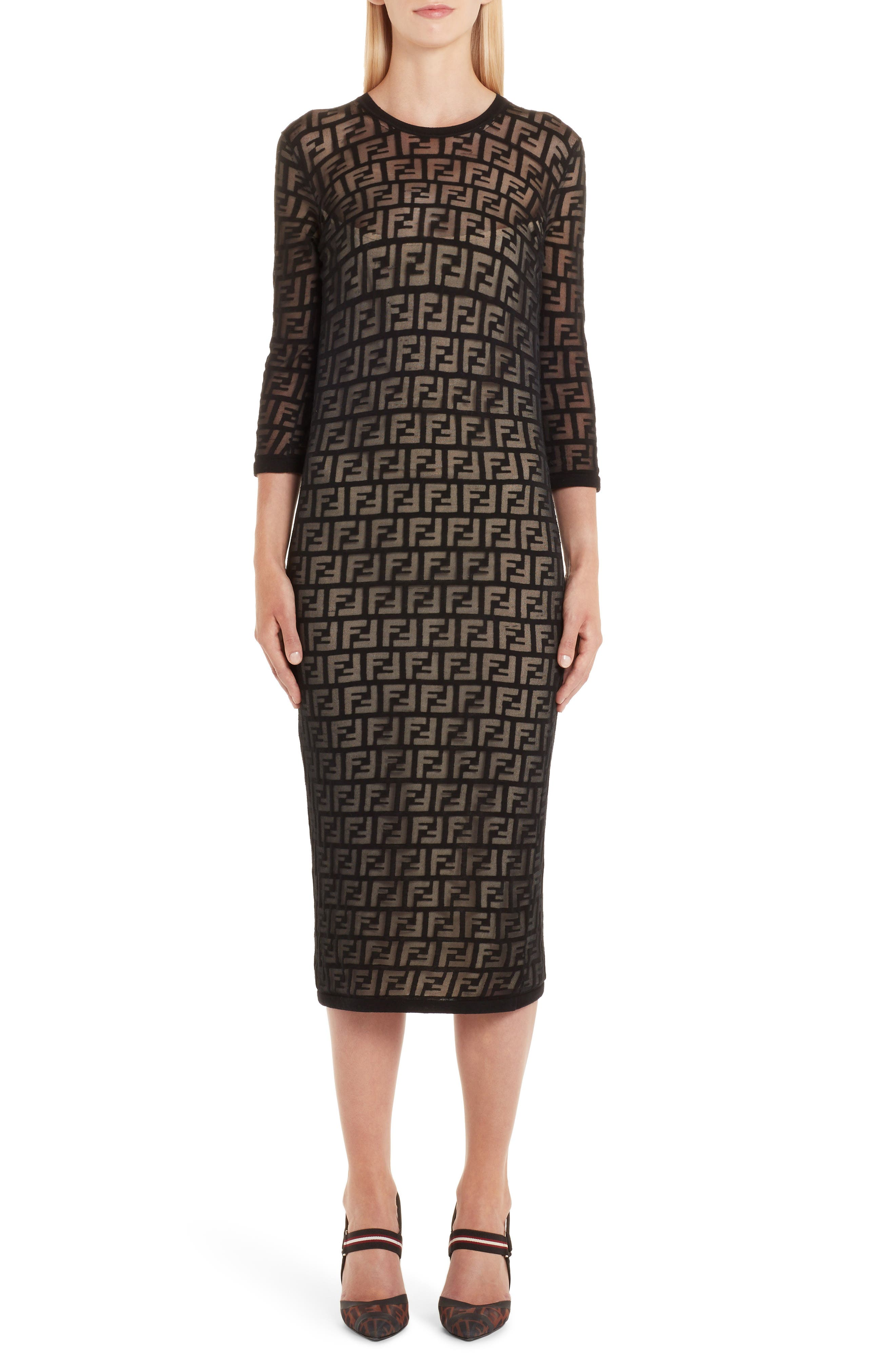 Fendi Ff Devore Knit Dress, 6 IT - Black