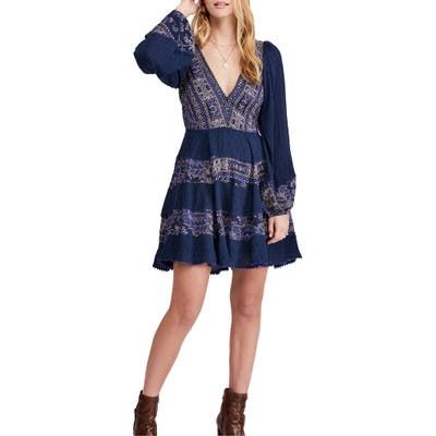 Free People My Love Long Sleeve Minidress, Blue