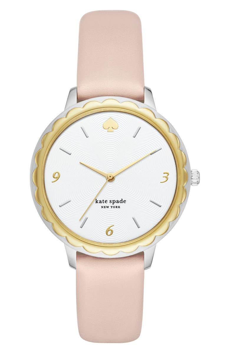 KATE SPADE NEW YORK morningside leather strap watch, 38mm, Main, color, BLUSH/ WHITE/ GOLD/ SILVER