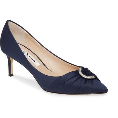 Nina Sue Crystal Embellished Pointed Toe Pump, Blue