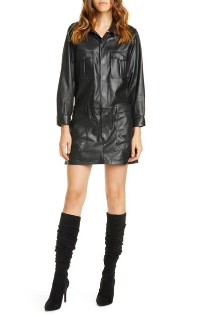 Frame Dresses LEATHER CARGO LONG SLEEVE MINIDRESS