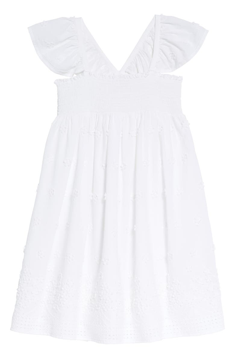 RUBY & BLOOM Flutter Sleeve Dress, Main, color, WHITE