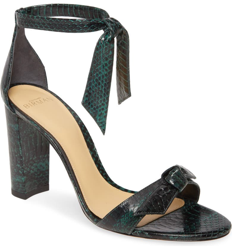 ALEXANDRE BIRMAN Clarita Block Genuine Snakeskin Ankle Tie Sandal, Main, color, 300