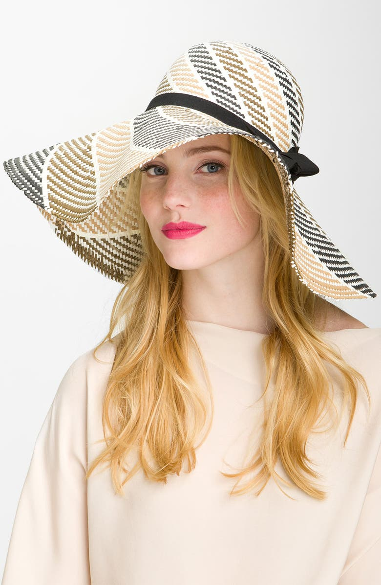 JESSICA SIMPSON 'Swirl Bow' Floppy Hat, Main, color, 001