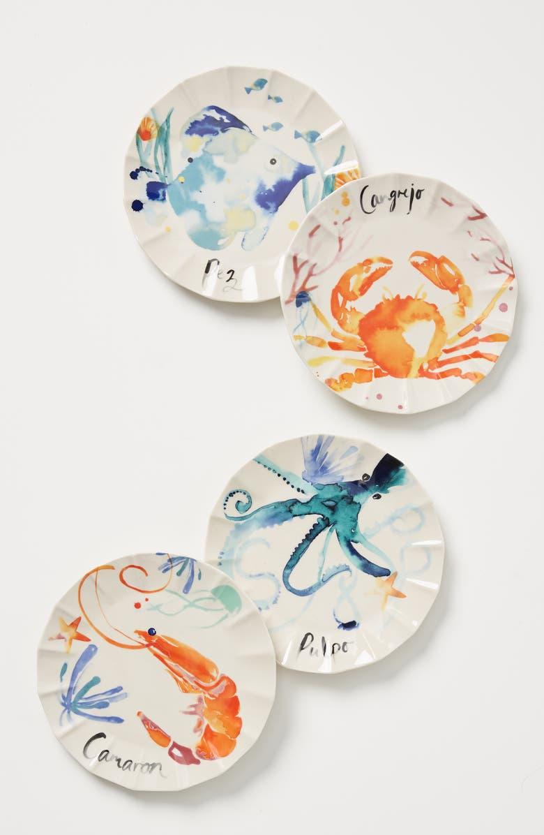 ANTHROPOLOGIE Sarah Hankinson Set of 4 Side Plates, Main, color, MULTI