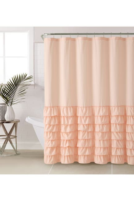 Image of VCNY HOME Pink Melanie Ruffle Shower Curtain