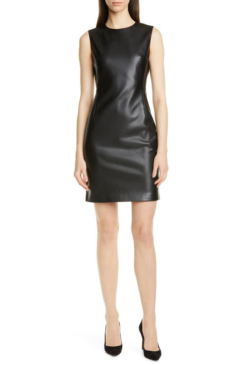 THEORY Faux Leather Sheath Dress, Main, color, BLACK
