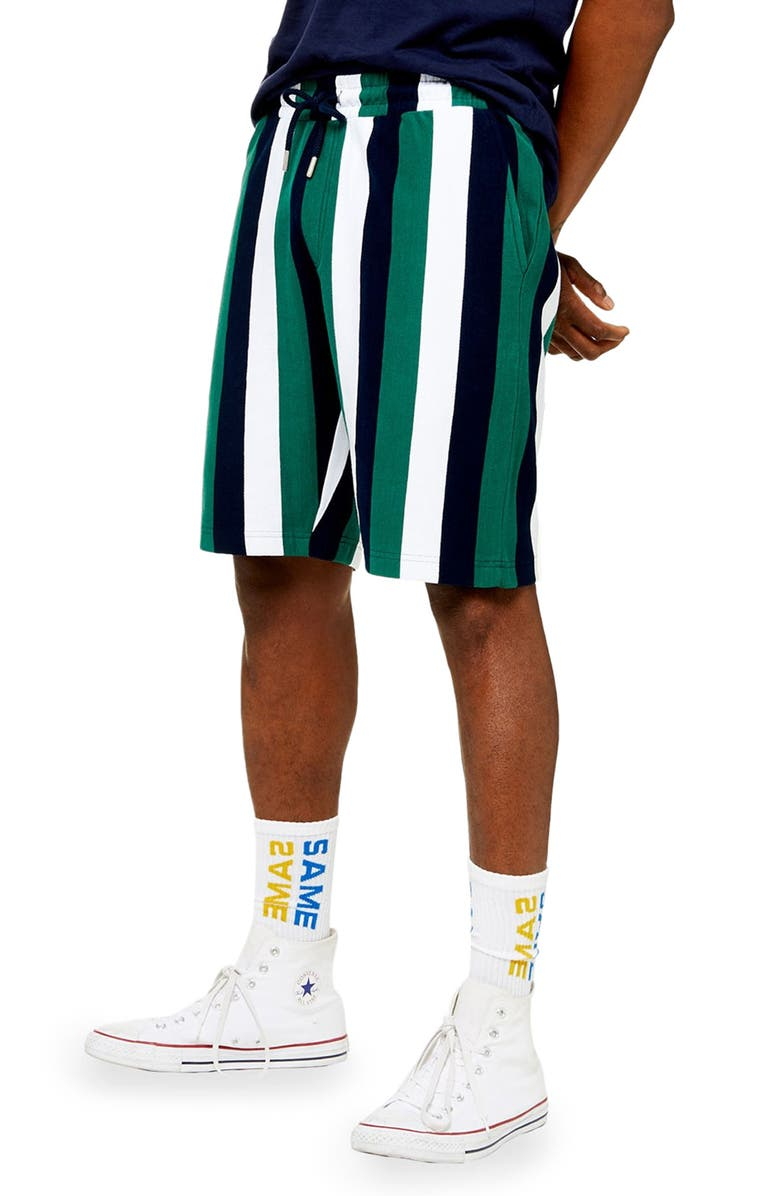 TOPMAN Stripe Jersey Shorts, Main, color, GREEN MULTI
