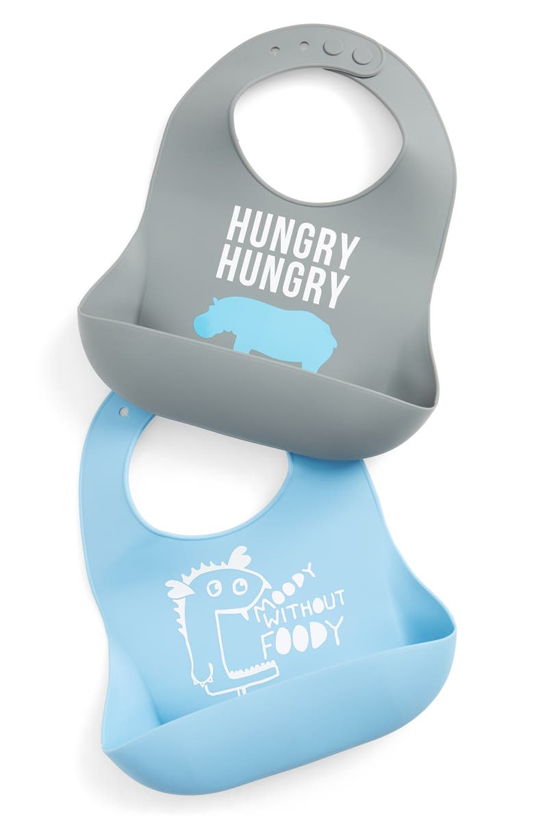 BELLA TUNNO Hungry Hippo/Moody Without Foody 2-Pack Wonder Bib Set, Main, color, BLUE/ GREY