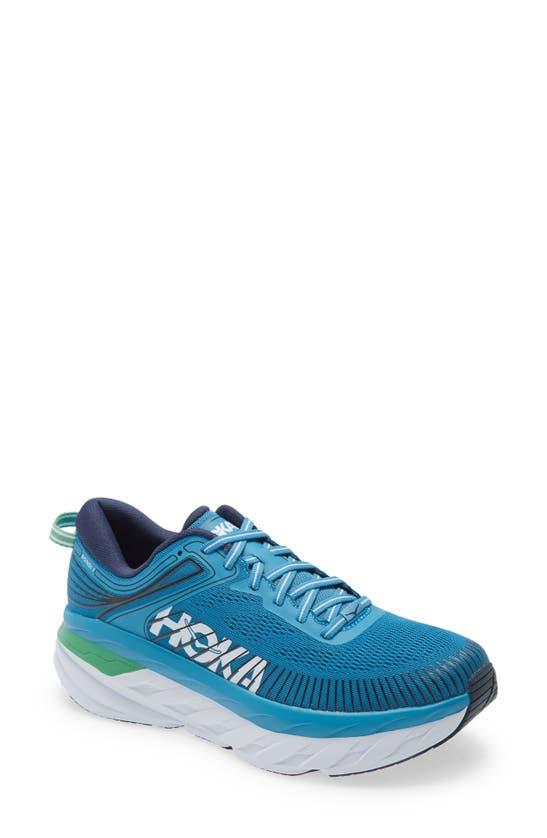 Hoka One One Bondi 7 Running Shoe In Blue/ White