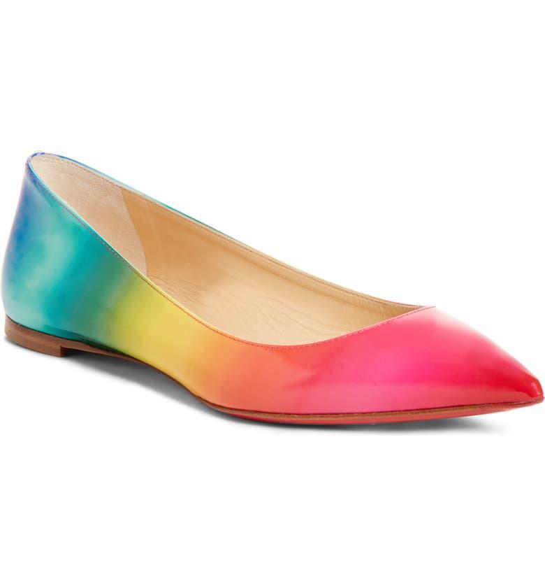 CHRISTIAN LOUBOUTIN Ballalla Rainbow Flat, Main, color, GRADIENT RAINBOW