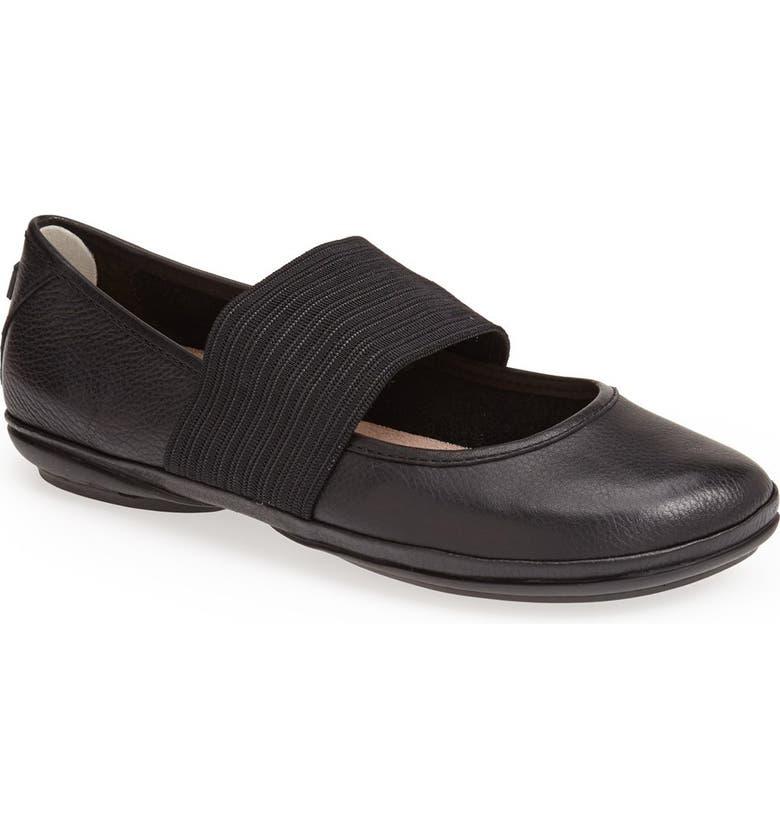 CAMPER 'Right Nina' Leather Ballerina Flat, Main, color, BLACK
