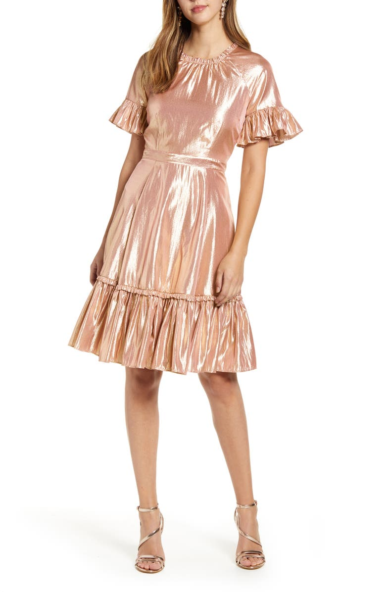 RACHEL PARCELL Metallic Swing Dress, Main, color, PINK COMPACT FOIL
