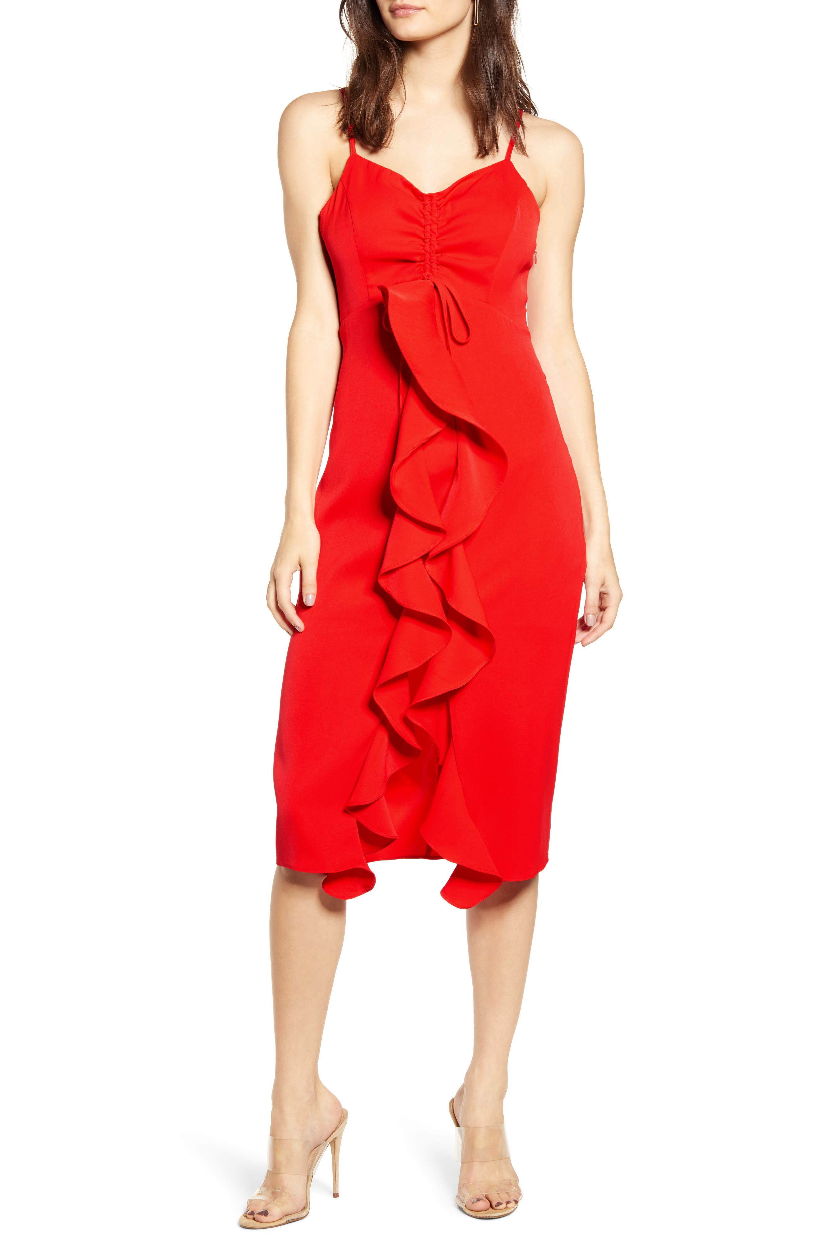 Endless Rose Strapless Ruffle Front Midi Dress, Red
