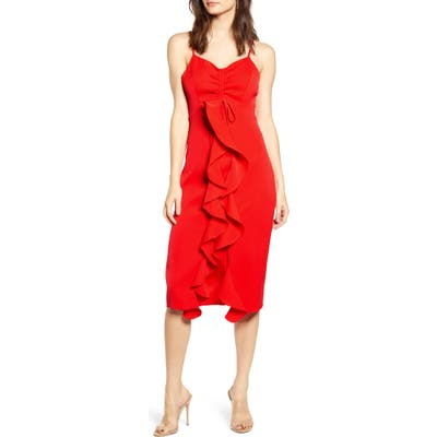 Endless Rose Ruffle Front Dress, Red