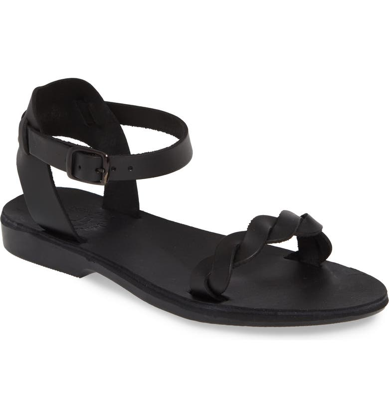 JERUSALEM SANDALS Arden Ankle Strap Sandal, Main, color, BLACK LEATHER