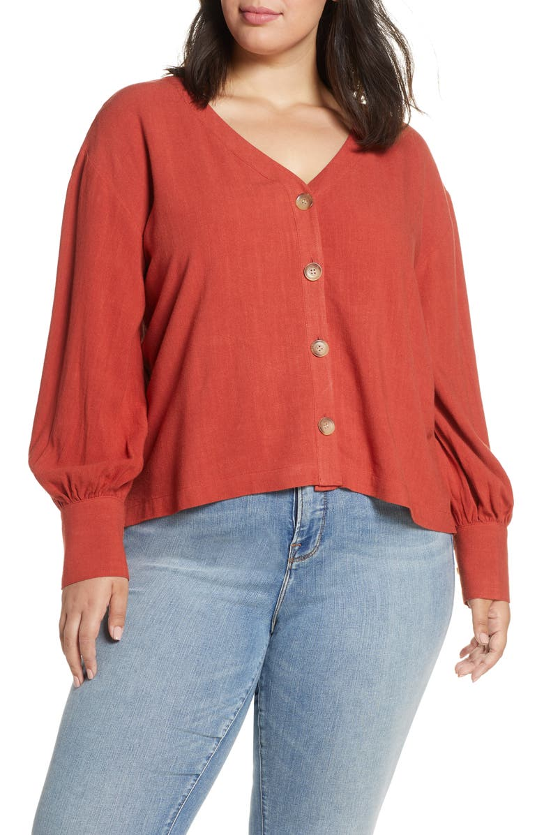 BP Bishop Long Sleeve Blouse Plus Size