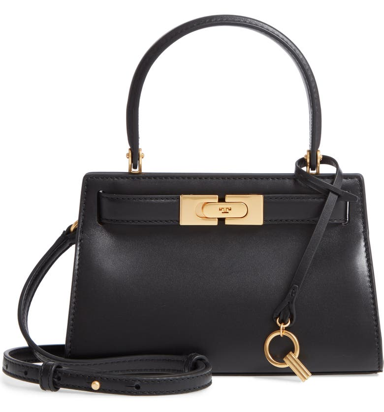 TORY BURCH Mini Lee Radziwill Leather Bag, Main, color, BLACK