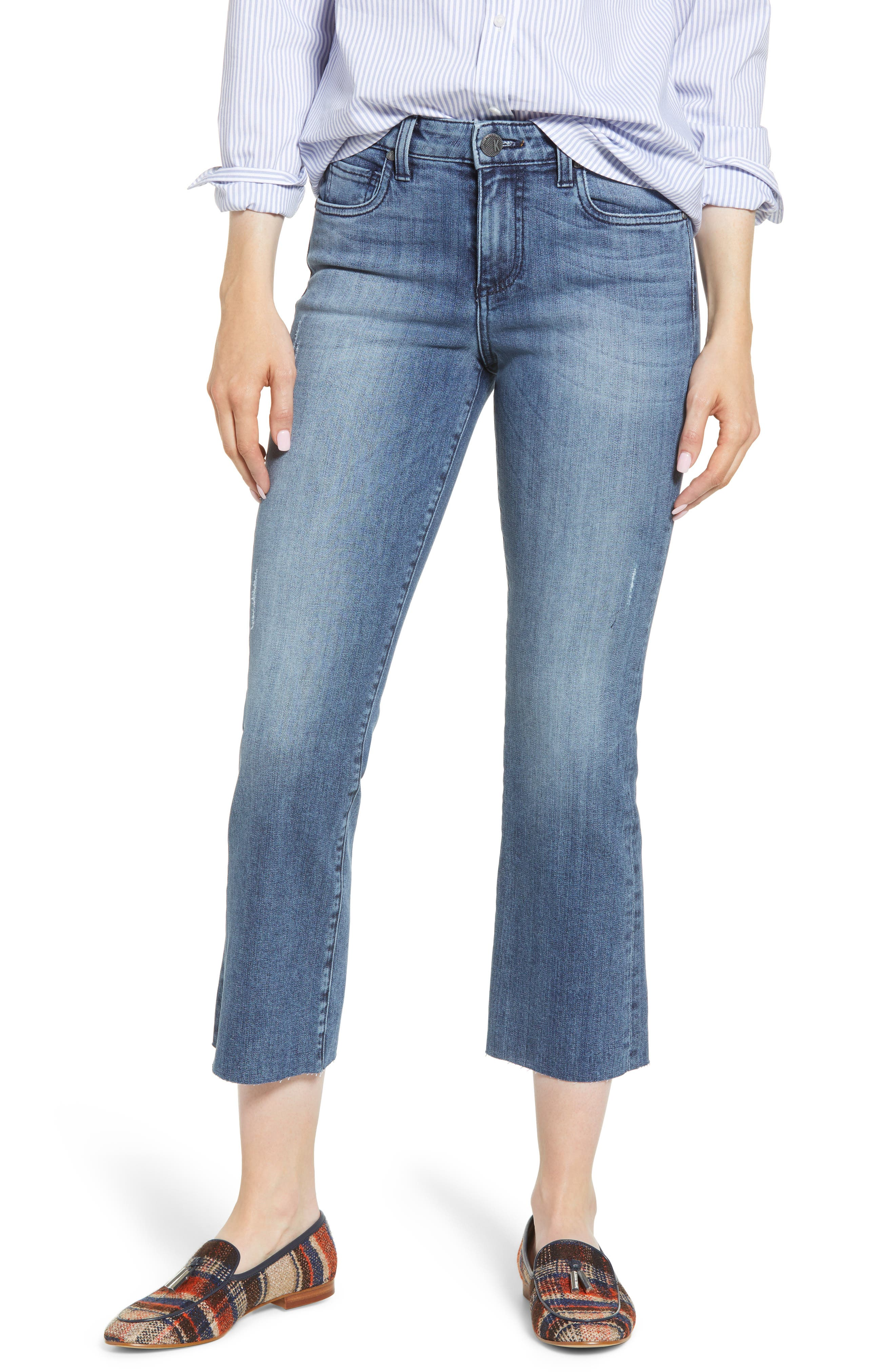 Kut From The Kloth Kelsey Raw Hem Crop Flare Jeans (Supposed)