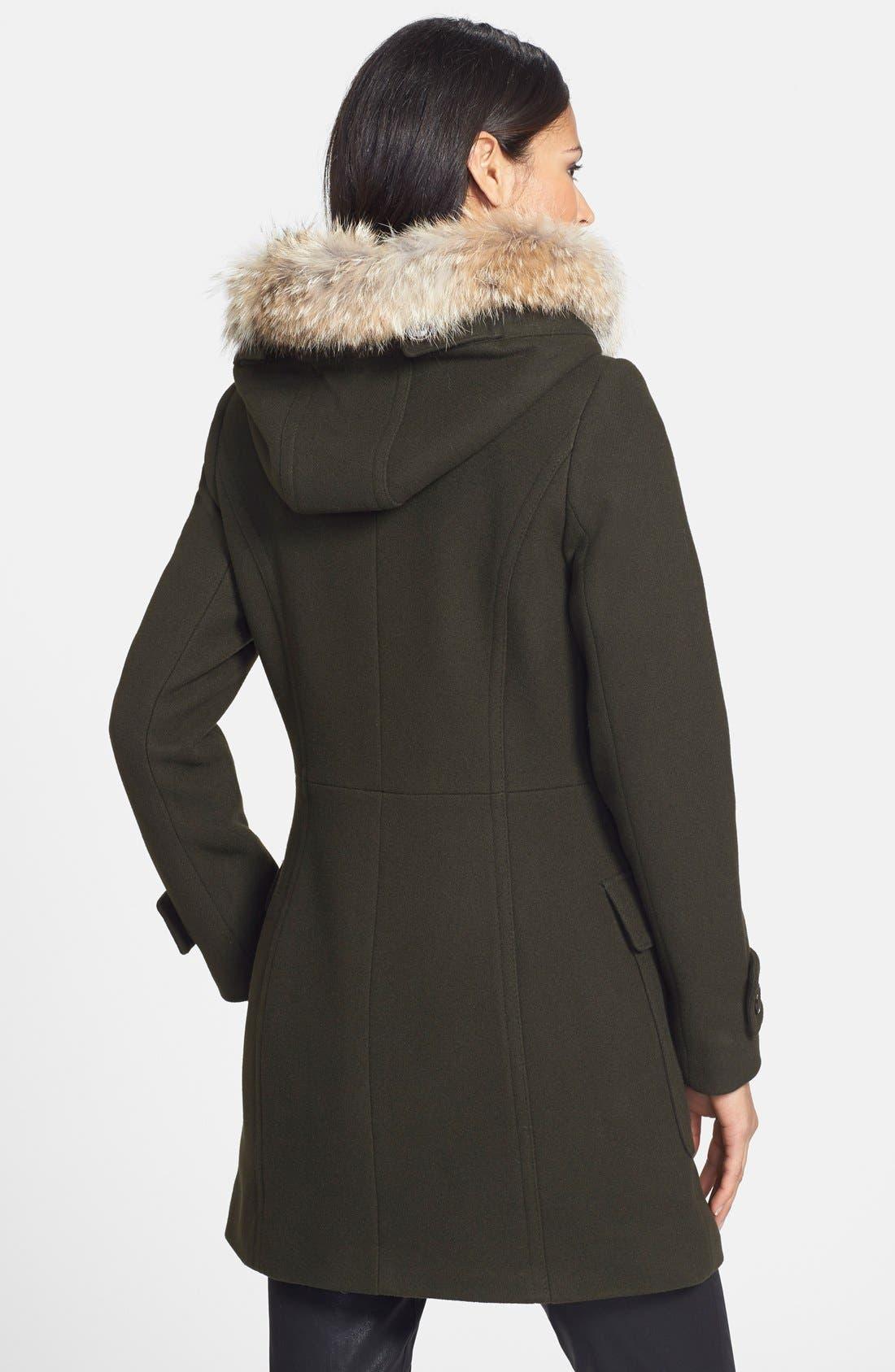 ,                             Genuine Coyote Fur Trim Wool Blend Duffle Coat,                             Alternate thumbnail 14, color,                             300