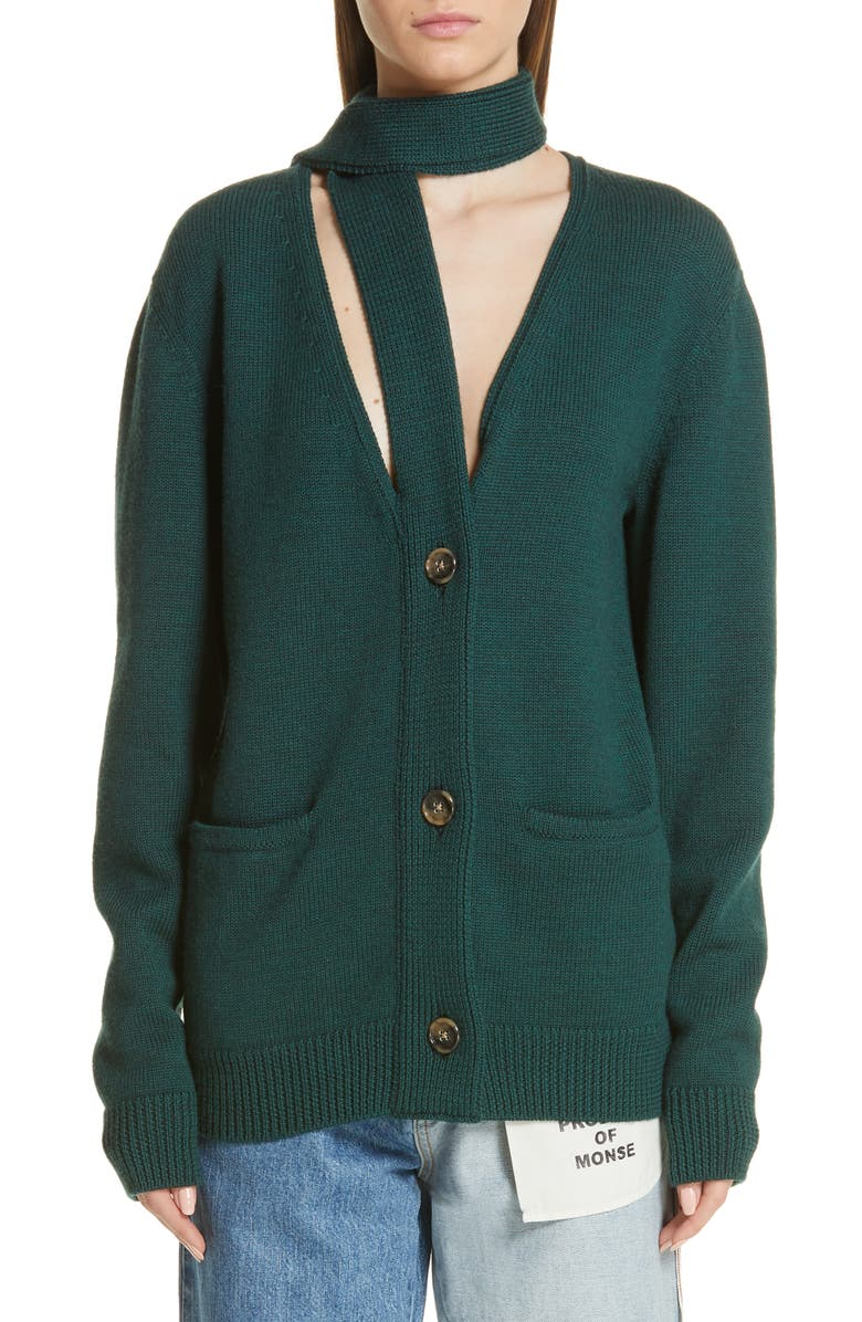 MONSE Scarf Neck Wool Cardigan, Main, color, EVERGREEN