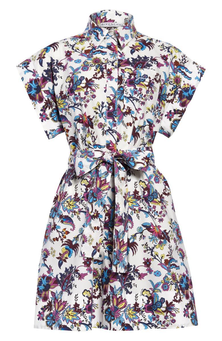 GIVENCHY Floral Print Cotton Poplin Shirtdress, Main, color, ABELIA PRINT