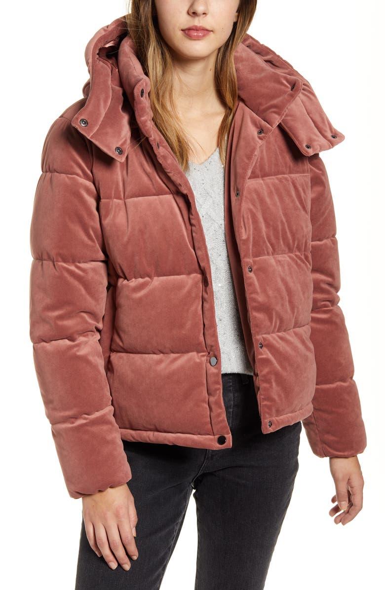 RACHEL PARCELL Velvet Puffer Coat, Main, color, PINK ASH