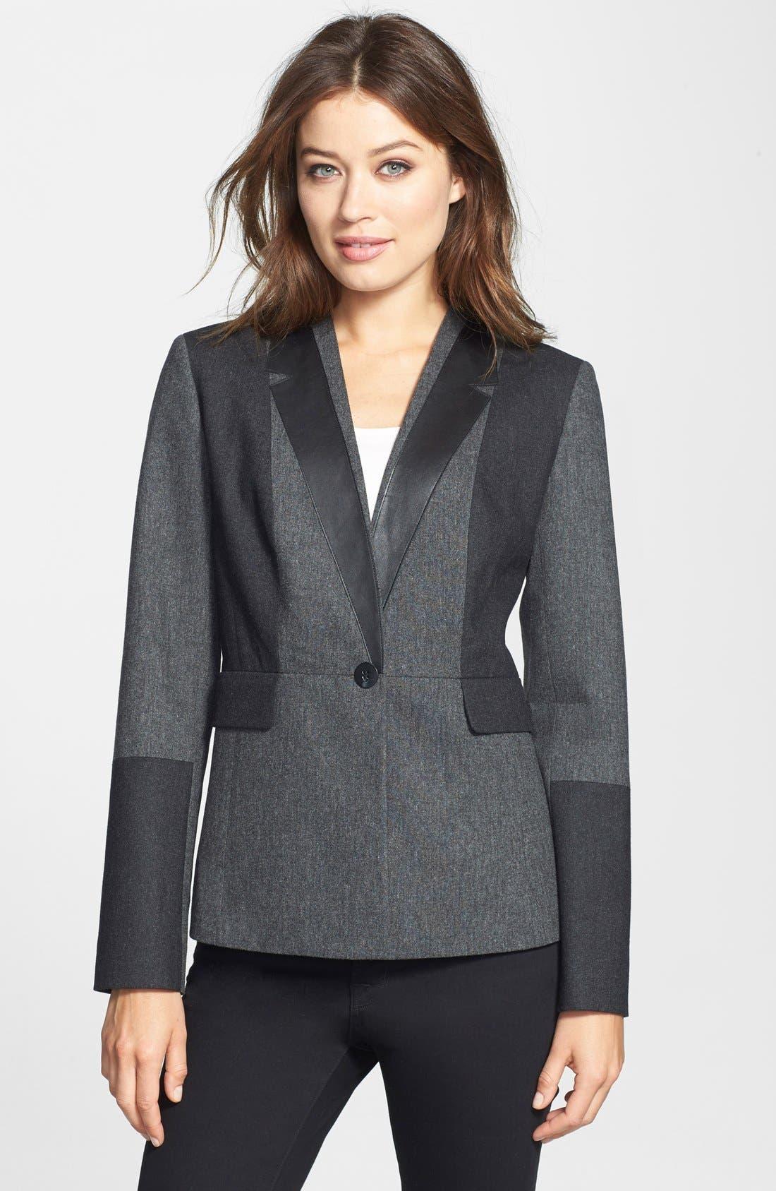 'Jesi' Colorblock Flannel Jacket, Main, color, 030