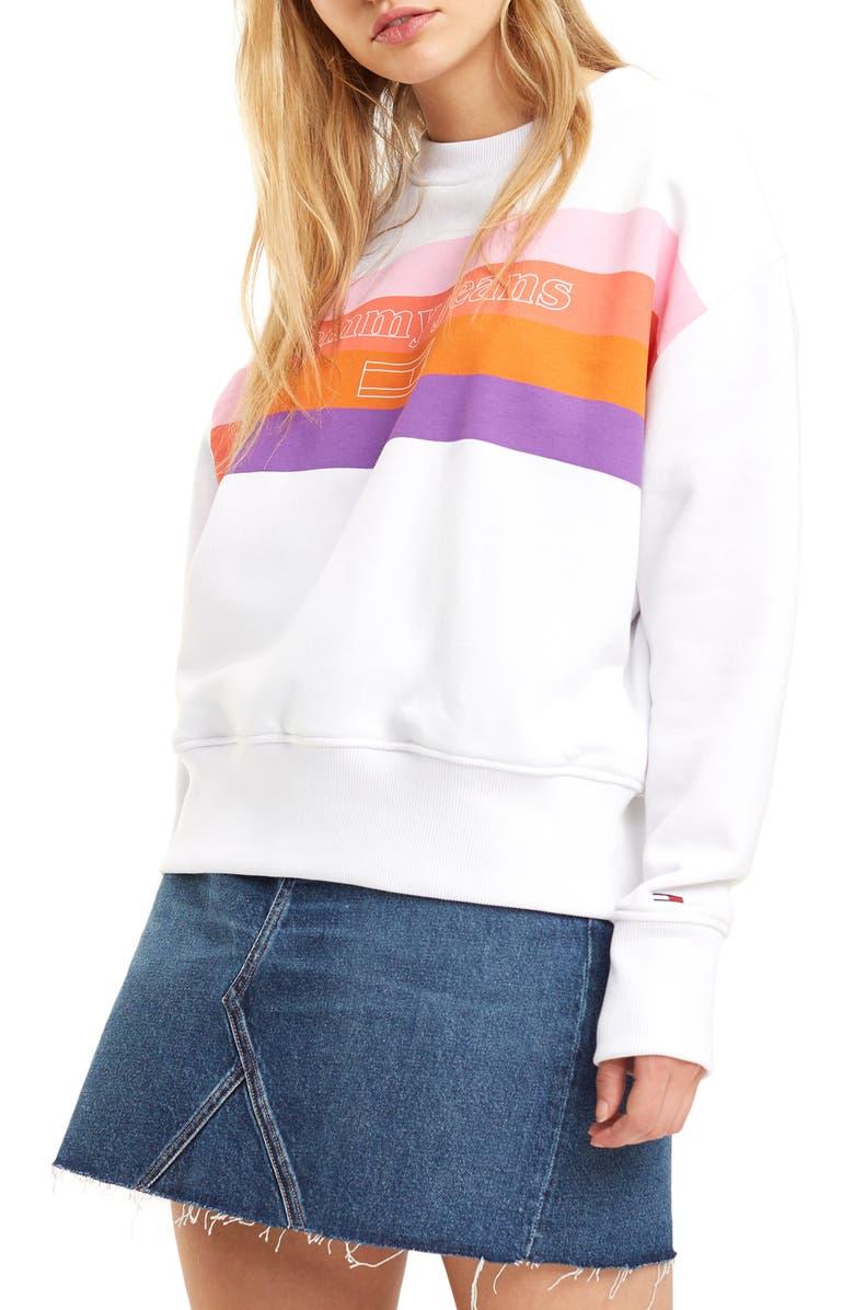 TOMMY JEANS TJW Stripe Logo Sweatshirt, Main, color, CLASSIC WHITE