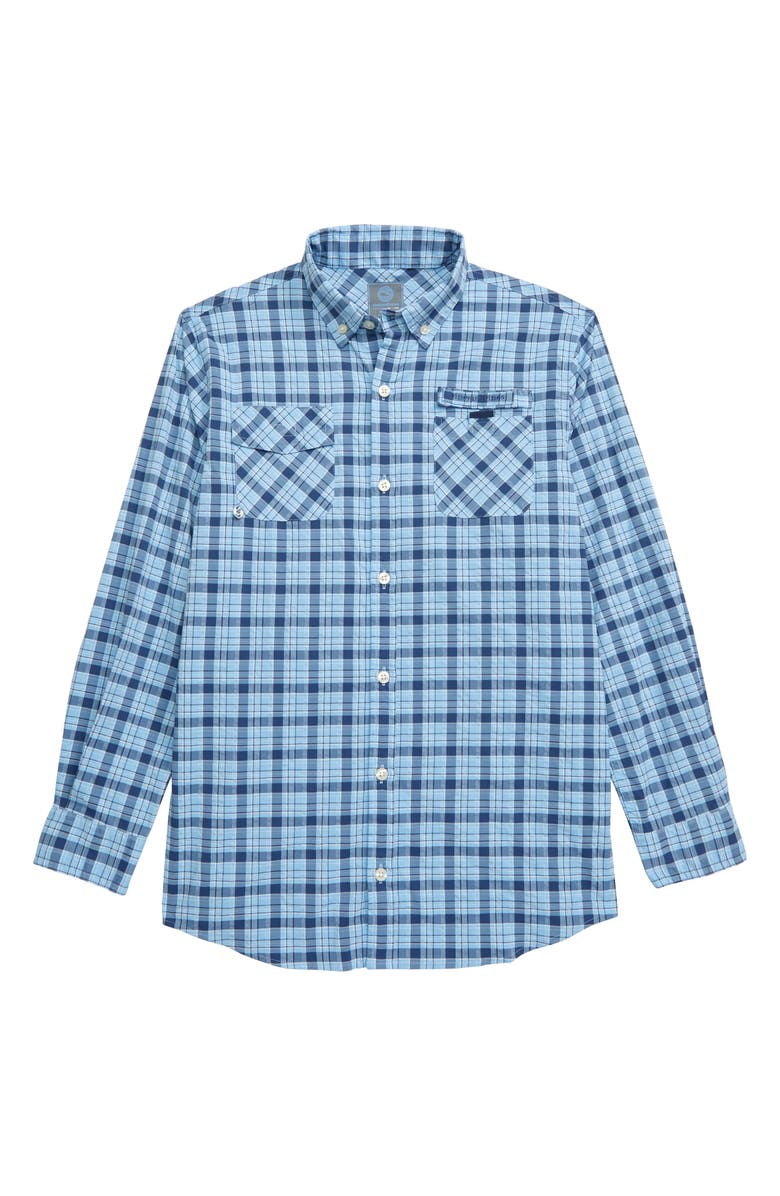 VINEYARD VINES Spearfish Harbor Plaid Button-Down Performance Shirt, Main, color, JAKE BLUE