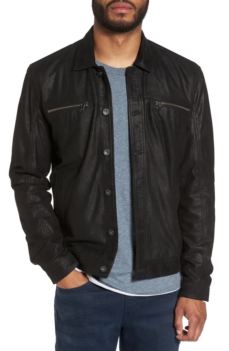 JOHN VARVATOS STAR USA Leather Trucker Jacket, Main, color, 001