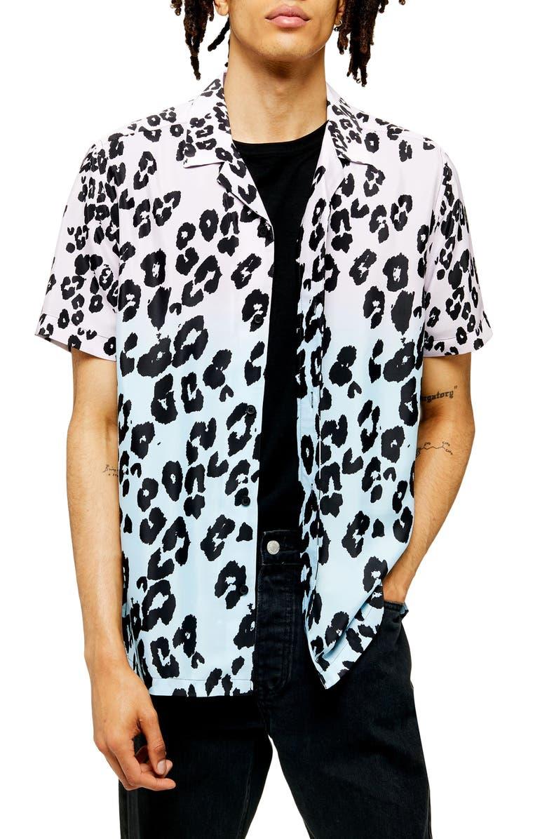TOPMAN Dip Dye Leopard Print Short Sleeve Button-Up Camp Shirt, Main, color, BLACK MULTI