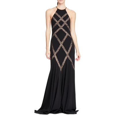 Halson Heritage Lace Inset Gown, Black