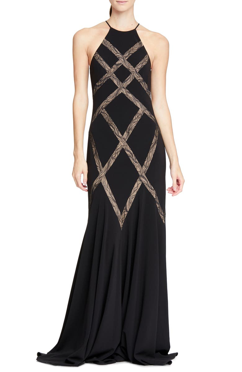 HALSTON HERITAGE Halson Heritage Lace Inset Gown, Main, color, BLACK